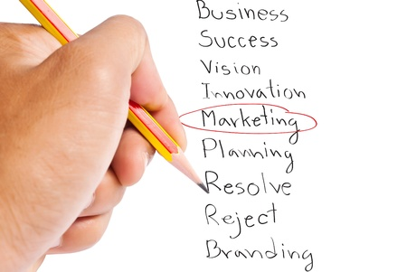 Hand write Marketing word  photo