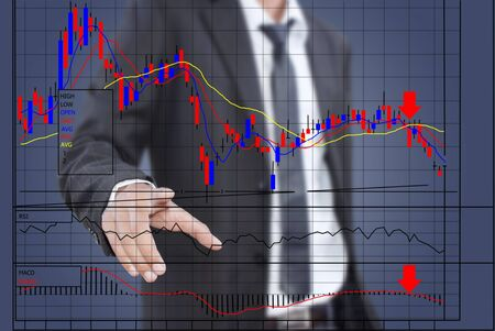 Businessman pushing finance graph for trade stock market on the whiteboard  Stock Photo - 13015191