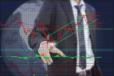 Businessman pushing finance graph for trade stock market on the whiteboard Stock Photo - 13015589
