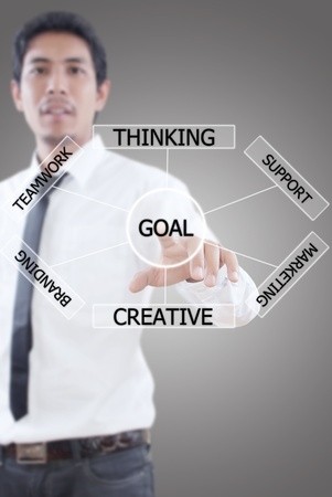 Businessman pushing plan to goal Stock Photo - 13015444