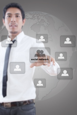 Businessman pushing people Social Network Stock Photo - 13061392