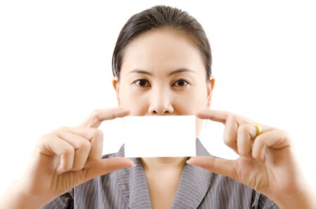 siness lady showing blank business card, selective focus on business lady  photo