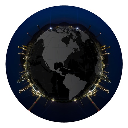 Circle panorama of Petrochemical industry on sunset dark blue sky  Stock Photo - 13054753