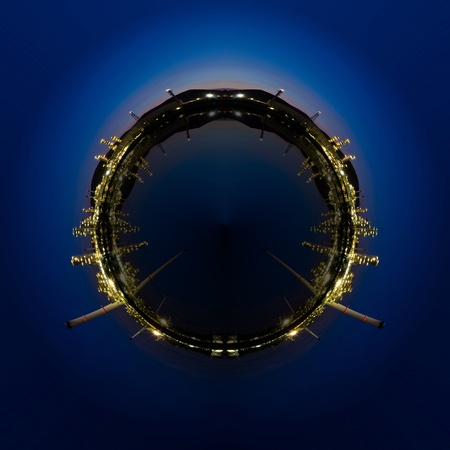 Circle panorama of Petrochemical industry on sunset dark blue sky