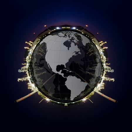 Circle panorama of Petrochemical industry on sunset dark blue sky  photo