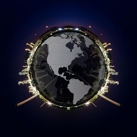petrochemie industrie: Cirkel panorama van Petrochemische industrie op zonsondergang donker blauwe hemel Stockfoto