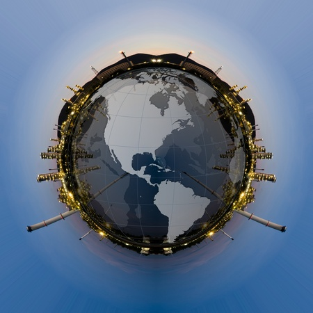 petrochemical: Circle panorama of Petrochemical industry on sunset dark blue sky