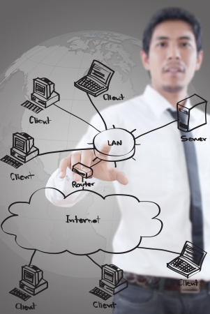 Unternehmer drängen LAN-Diagramm auf der Pinnwand