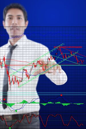 Businessman pushing finance graph for trade stock market on the whiteboard Stock Photo - 13284058