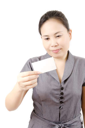 Business lady showing blank business card  Stock Photo - 13435418