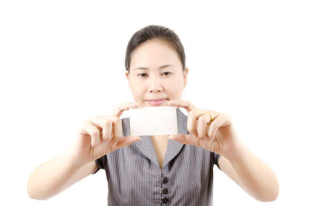 Business lady showing blank business card Stock Photo - 13435411