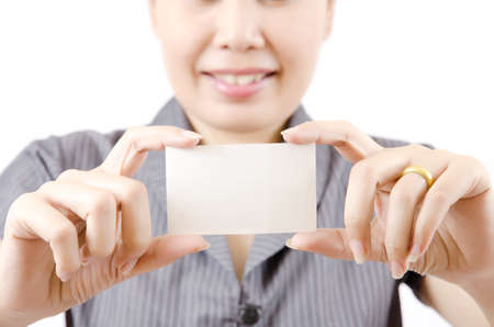 Business lady showing blank business card  Stock Photo - 13435417