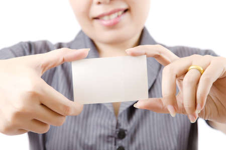 Business lady showing blank business card  Stock Photo - 13435422
