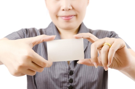 Business lady showing blank business card  Stock Photo - 13435421