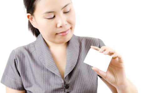 Business lady showing blank business card Stock Photo - 13435431
