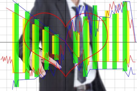 Businessman pushing finance graph for trade stock market on the whiteboard  photo