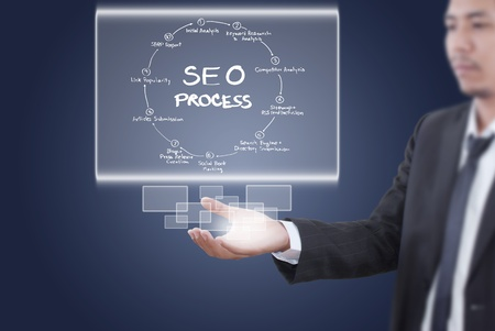 building a social network: Businessman putting SEO process on the whiteboard  Stock Photo