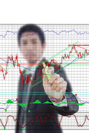 Businessman write finance graph for trade stock market on the whiteboard Stock Photo - 13511111