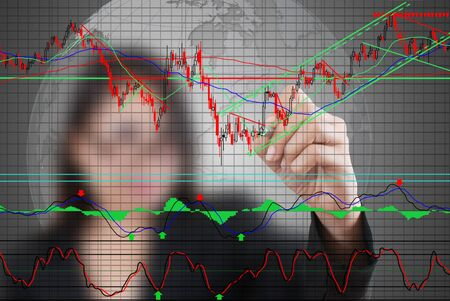 Business lady write finance graph for trade stock market on the whiteboard  photo