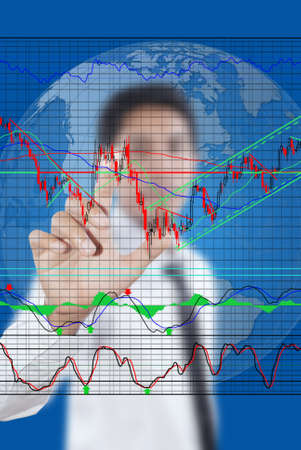 Businessman pushing finance graph for trade stock market on the whiteboard  Stock Photo - 13752331