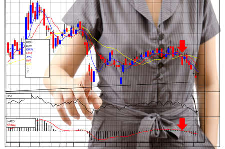 Business lady pushing finance graph for trade stock market on the whiteboard Stock Photo - 13752340