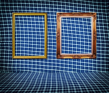 Vintage photo frame on the Blue wallpaper  photo