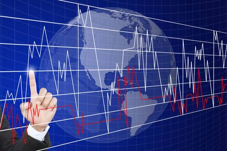 Hand pushing graph for trade stock market on the whiteboard  Stock Photo - 13755611