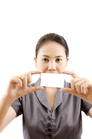 Business lady showing blank business card Stock Photo - 13880224
