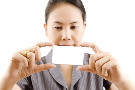 Business lady showing blank business card Stock Photo - 13880141