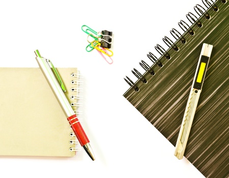 Notebook and pen isolated  photo