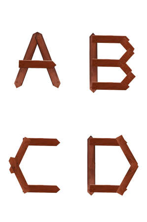 Wooden sign A B C D alphabet character isolated on the white background  photo