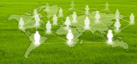 Social network communication on the grass field Stock Photo - 14208307