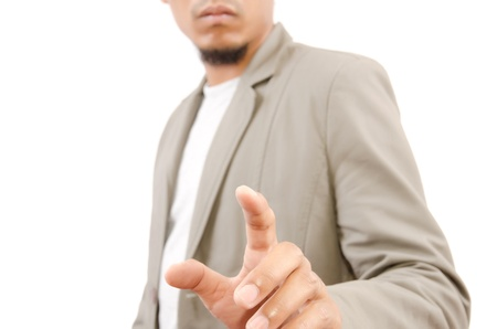 Businessman Touching on the whiteboard, Selective focus on the finger  photo