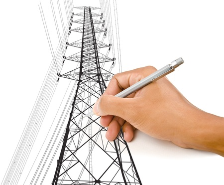 Hand Drawing High voltage power pole line  photo