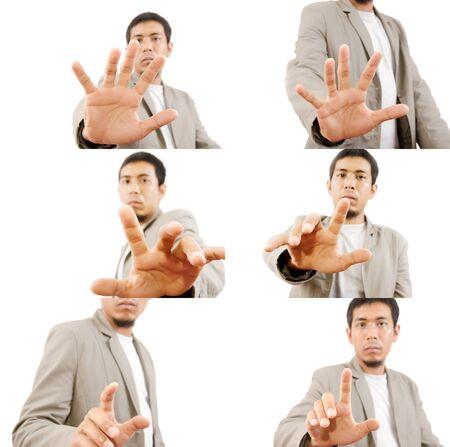 Set of Businessman pushing on the whiteboard  photo