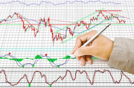 Hand write finance graph for trade stock market on the whiteboard Stock Photo - 14269516
