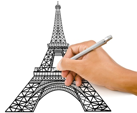 Hand drawing Eiffel Tower line  in Paris for construction  photo