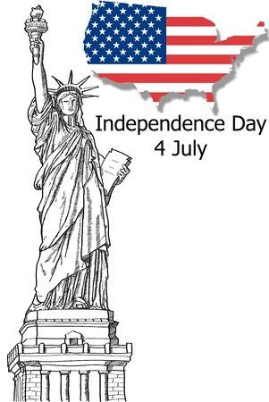 liberty torch: Statue of Liberty  Liberty Enlightening the World   Line for Independence Day, 4 th of July  Stock Photo