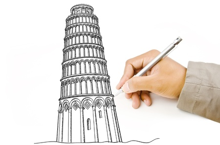 Hand drawing Pisa Tower line  in Italy for construction  Stock Photo - 14269506