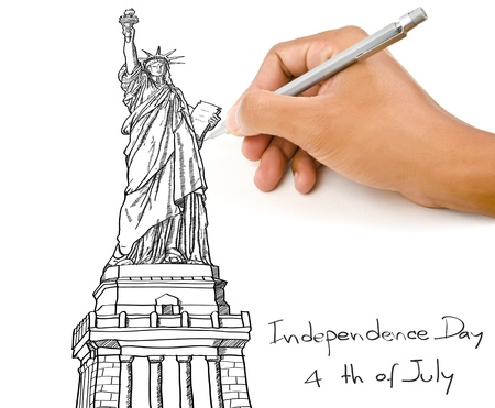 Hand drawing Statue of Liberty line  in USA for Independence Day, 4 th of July  photo