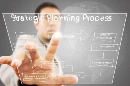 Businessman pushing strategic planning on the whiteboard  photo
