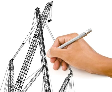 Hand drawing Crain line for Construction concept  photo