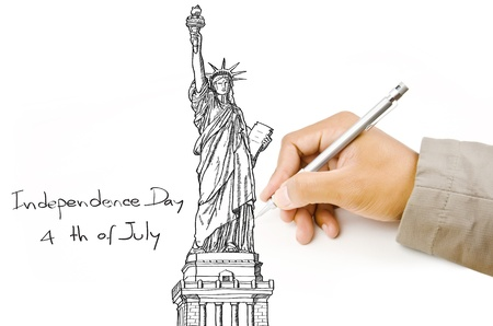 french culture: Hand drawing Statue of Liberty line  in USA for Independence Day, 4 th of July
