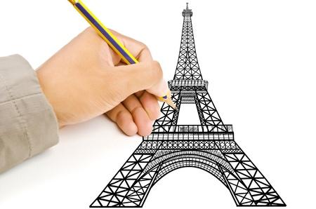 Ręcznie rysunek Wieża Eiffla w Paryżu linia na budowę Zdjęcie Seryjne - 14386266