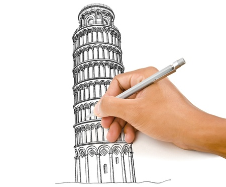 Hand drawing Pisa Tower line  in Italy for construction  photo