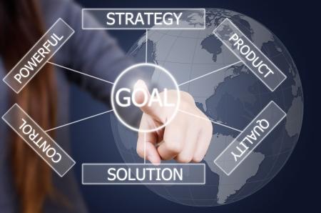 Business lady pushing plan to goal 版權商用圖片 - 14412414
