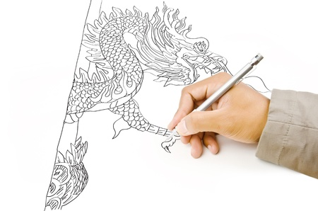 Hand drawing chinese style dragon statue  photo