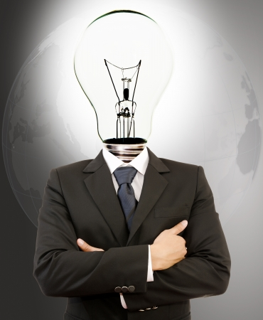 Successful Businessman with Lamp-Head Crossed Hands  Stock Photo - 14412525