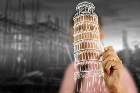 Businessman drawing Pisa Tower line  in Italy for construction Stock Photo - 14412496