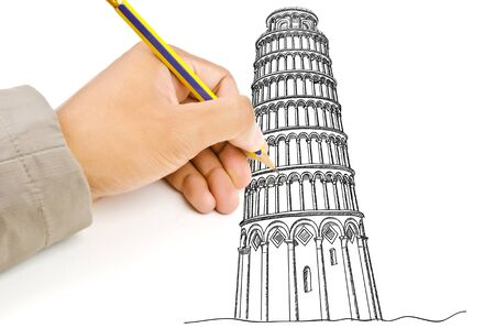 Hand drawing Pisa Tower line  in Italy for construction Stock Photo - 14422820
